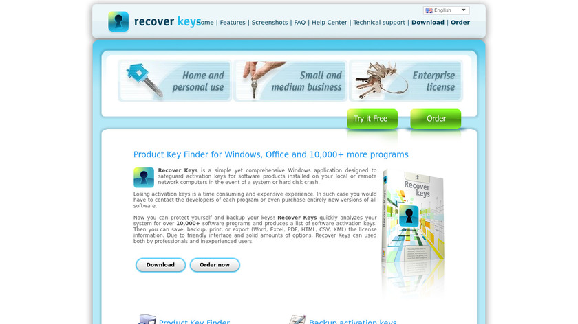 Recover Keys Landing Page