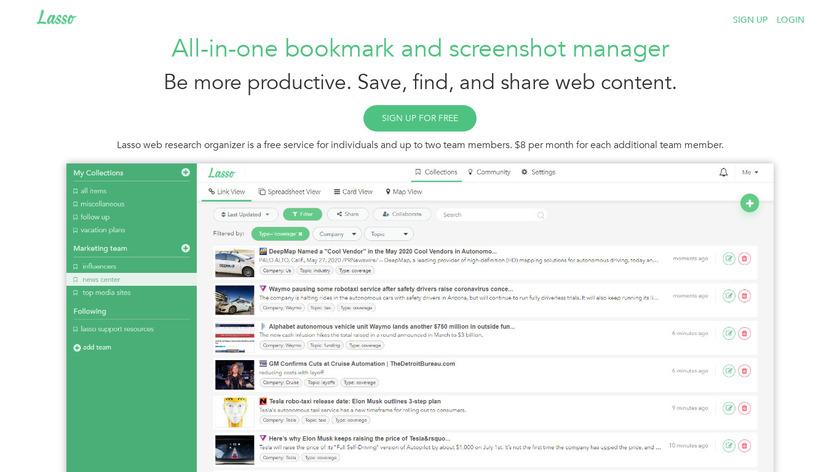 Lasso Content Curation Landing Page