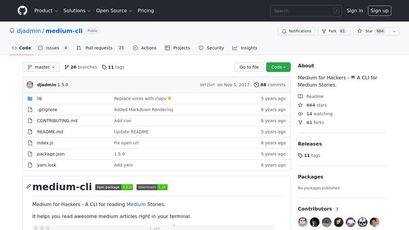 Medium CLI Landing Page
