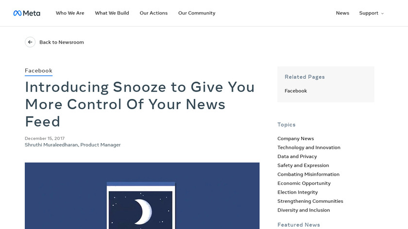 News Feed Snooze Landing Page