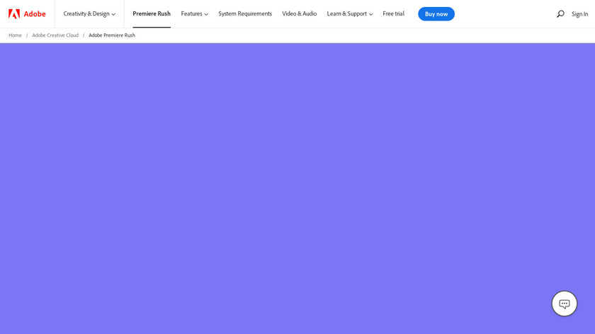 Adobe Premiere Rush CC Landing Page
