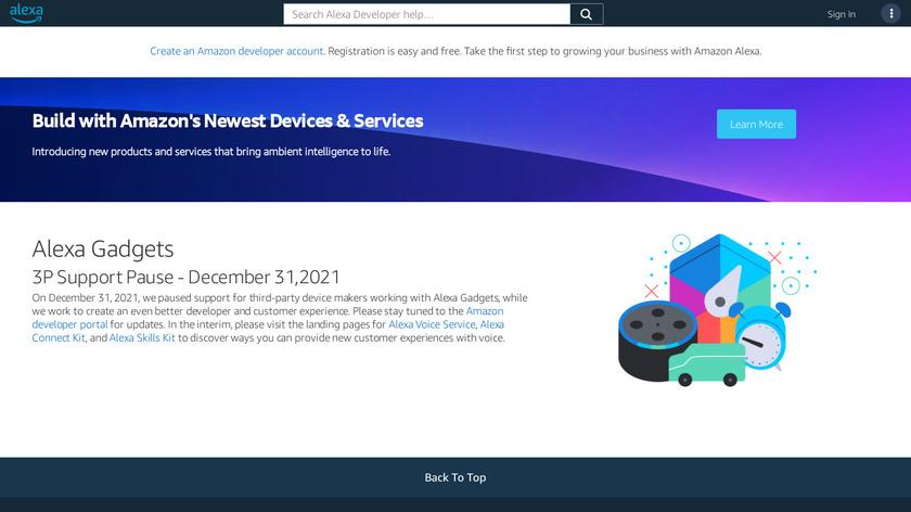 Alexa Gadgets Toolkit Landing Page