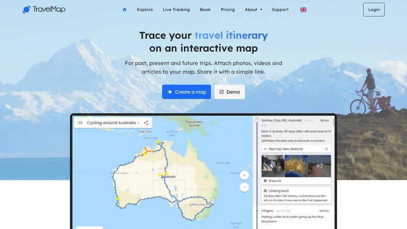 TravelMap Landing Page