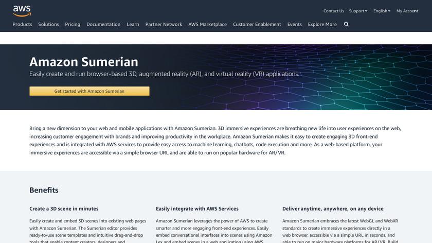 Amazon Sumerian Landing Page