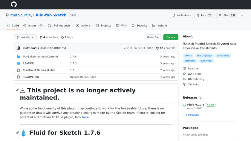 Fluid for Sketch Landing Page