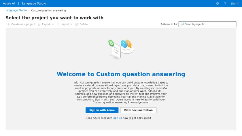 QnA Maker Landing Page