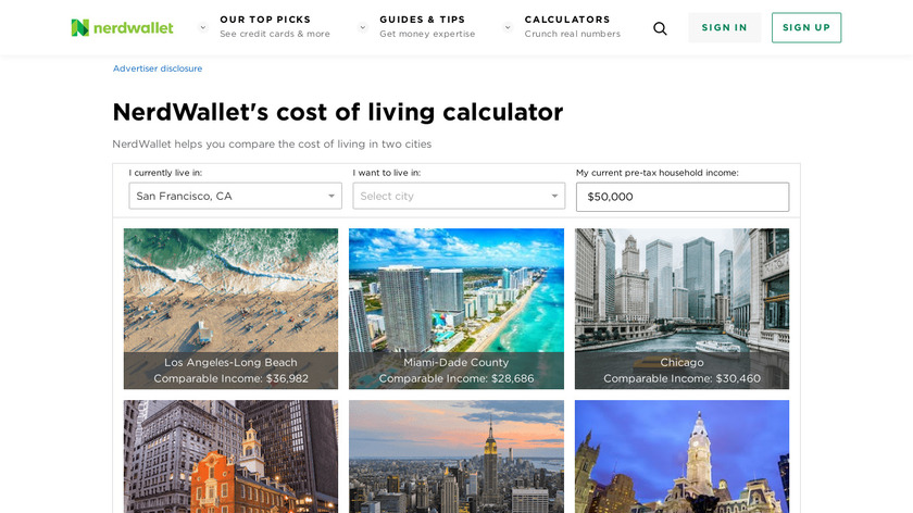 Cost of Living Calculator Landing Page