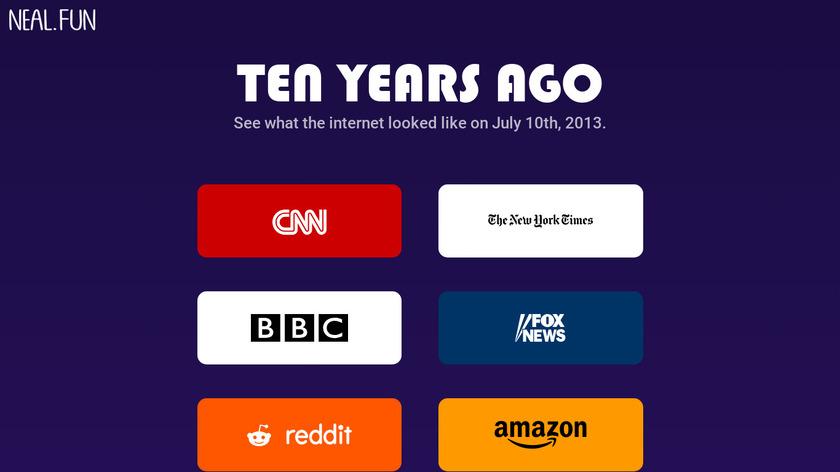 Ten Years Ago Landing Page