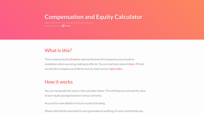 Equity Calculator Landing Page