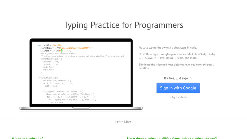 typing.io Landing Page
