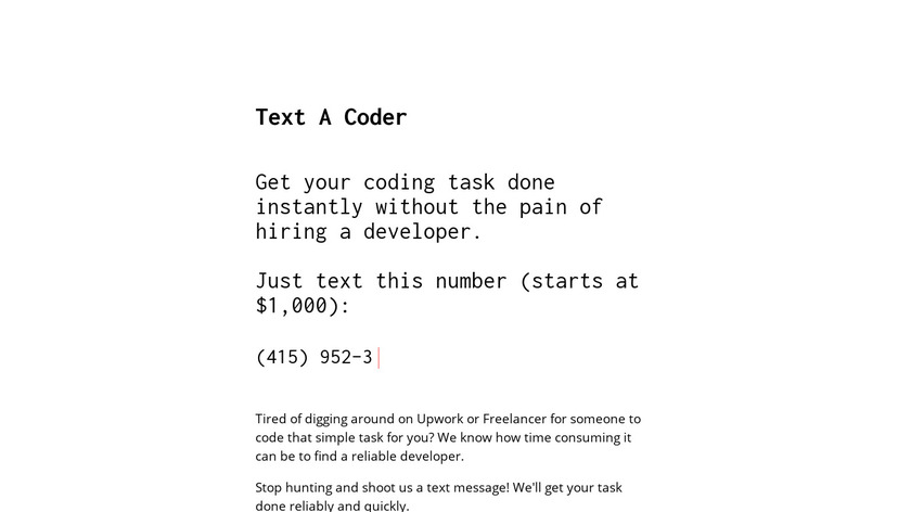 Text A Coder Landing Page