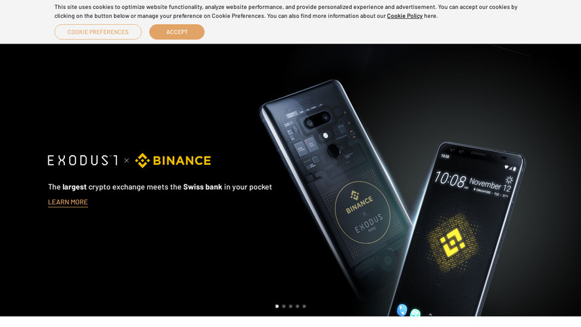 HTC Exodus Landing Page
