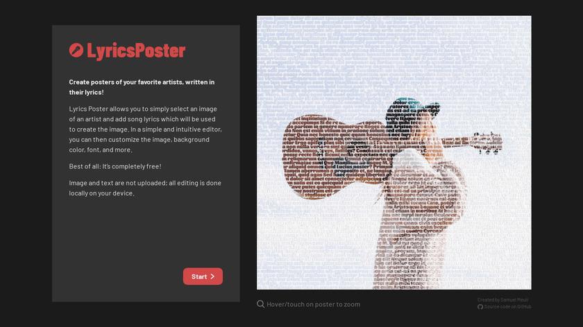 LyricsPoster Landing Page