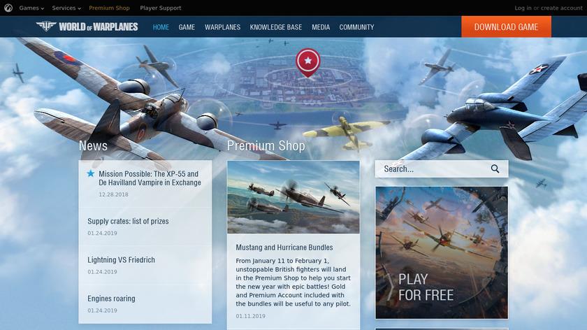 World of Warplanes Landing Page