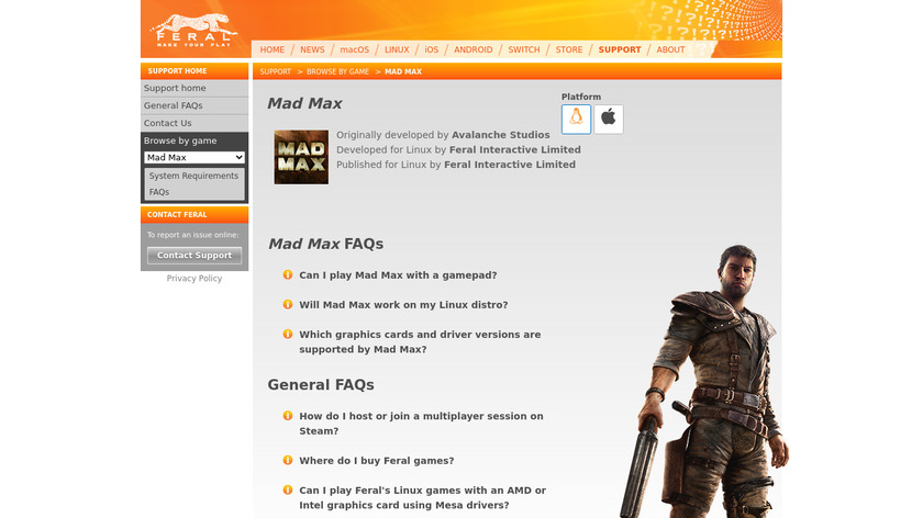 Mad Max Landing Page