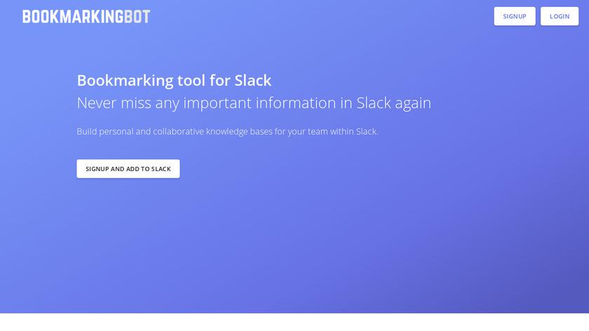 BookmarkingBot Landing Page