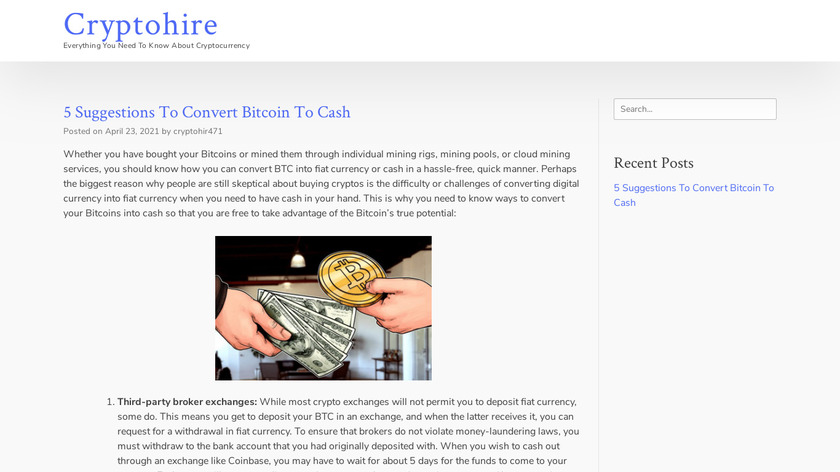 Cryptohire Landing Page