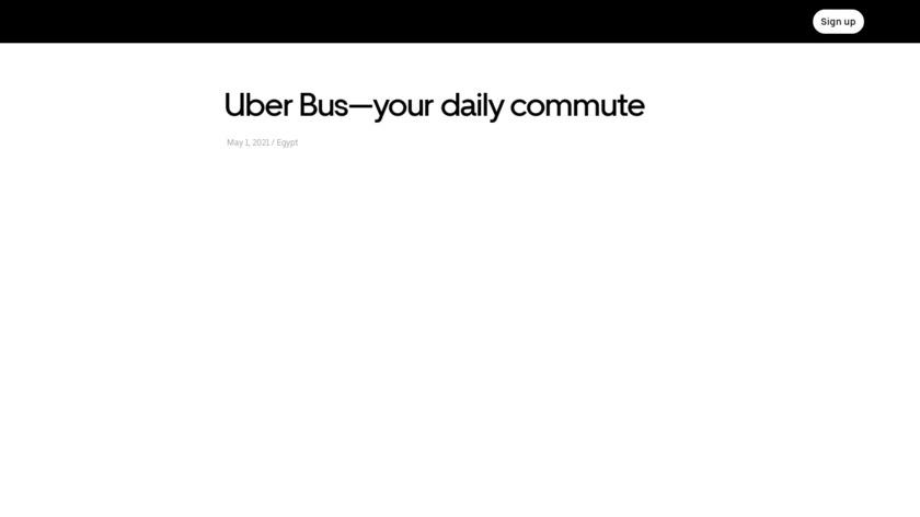 Uber Bus Landing Page