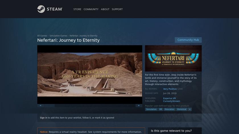 CuriosityStream VR Landing Page