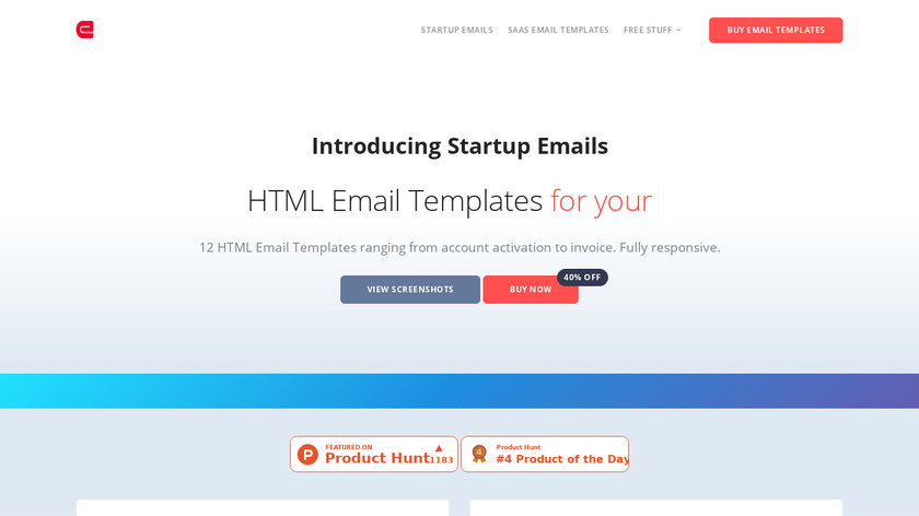 Startup Emails Landing Page