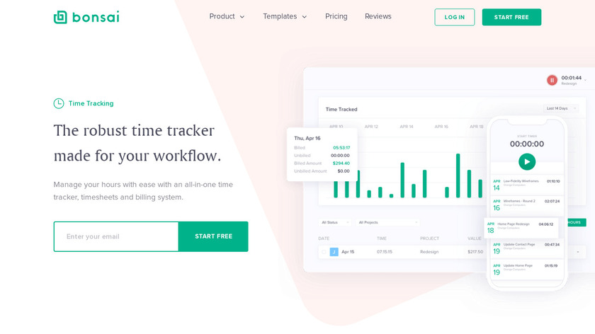 Time Tracking for Freelancers Landing Page