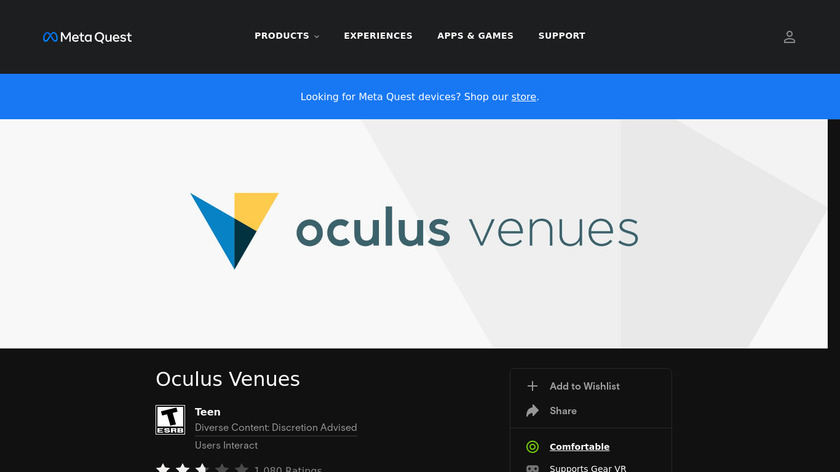 Oculus Venues Landing Page