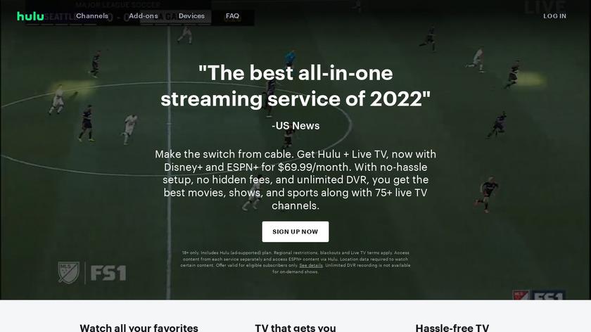 Hulu Live TV Landing Page