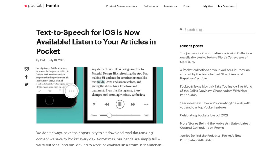 Pocket Listen Landing Page