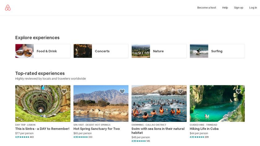 Airbnb Experiences Landing Page