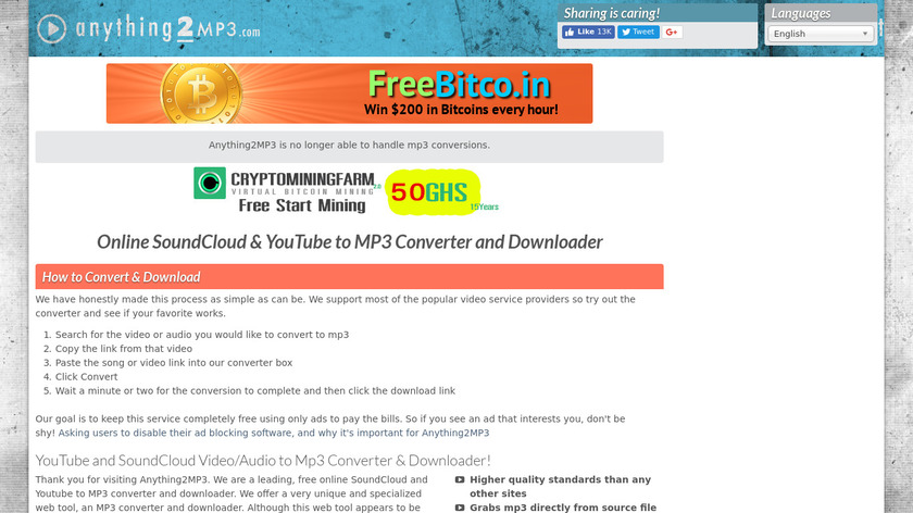 Anything2MP3 Landing Page