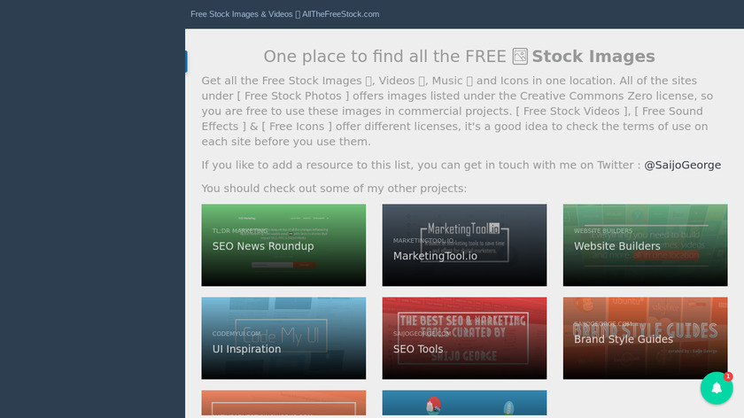 AllTheFreeStock Landing Page