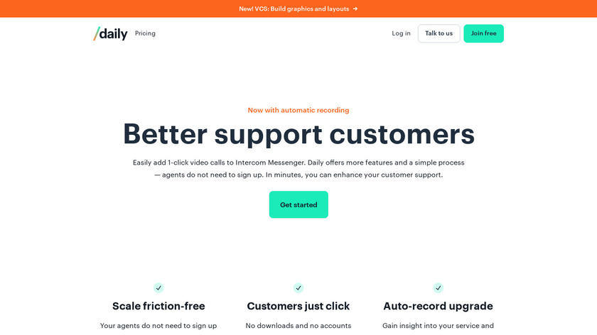 Daily.co for Intercom Landing Page