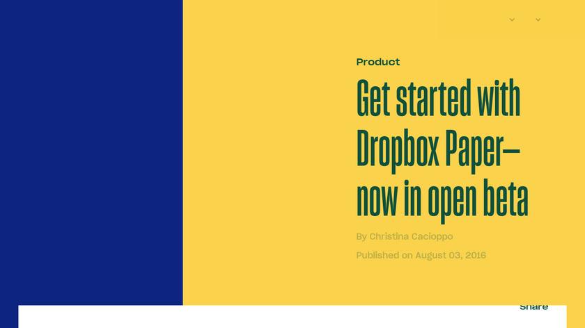 Dropbox Paper Mobile Landing Page