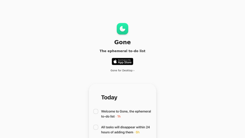 Gone Landing Page