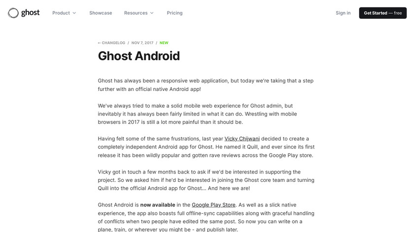 Ghost for Android Landing Page