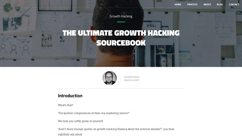 Growth Hacking Sourcebook Landing Page