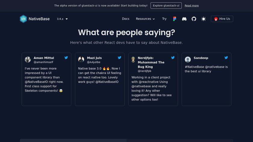NativeBase Landing Page