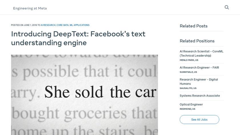 Facebook DeepText Landing Page