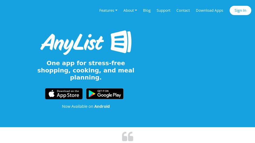 AnyList Landing Page