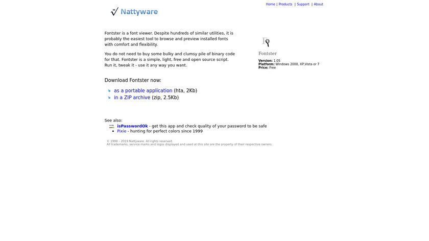 Fontster Landing Page