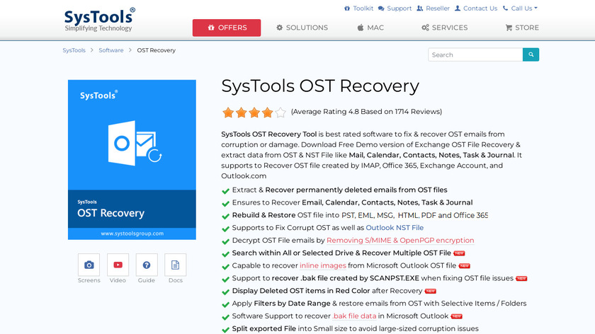 SysTools OST Recovery Landing Page