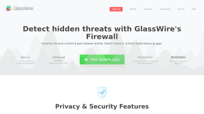 GlassWire Landing Page