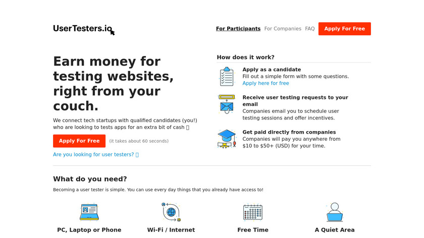 UserTesters.io Landing Page