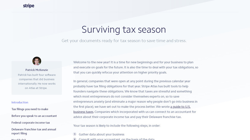 Stripe Atlas Taxes Landing Page