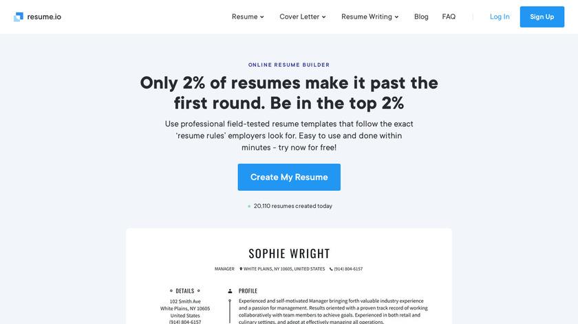 Resume.io Landing Page