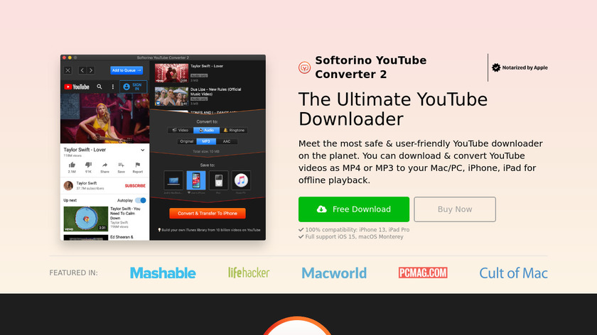 Softorino YouTube Converter Landing Page