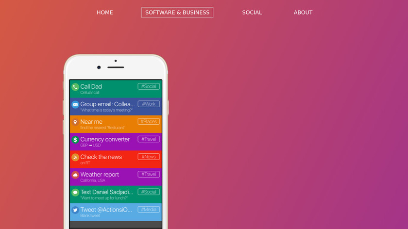 Actions Landing Page