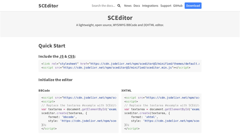 SCEditor Landing Page