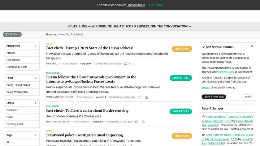 WikiTribune Landing Page