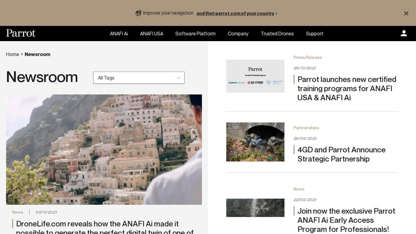 Parrot DISCO Landing Page